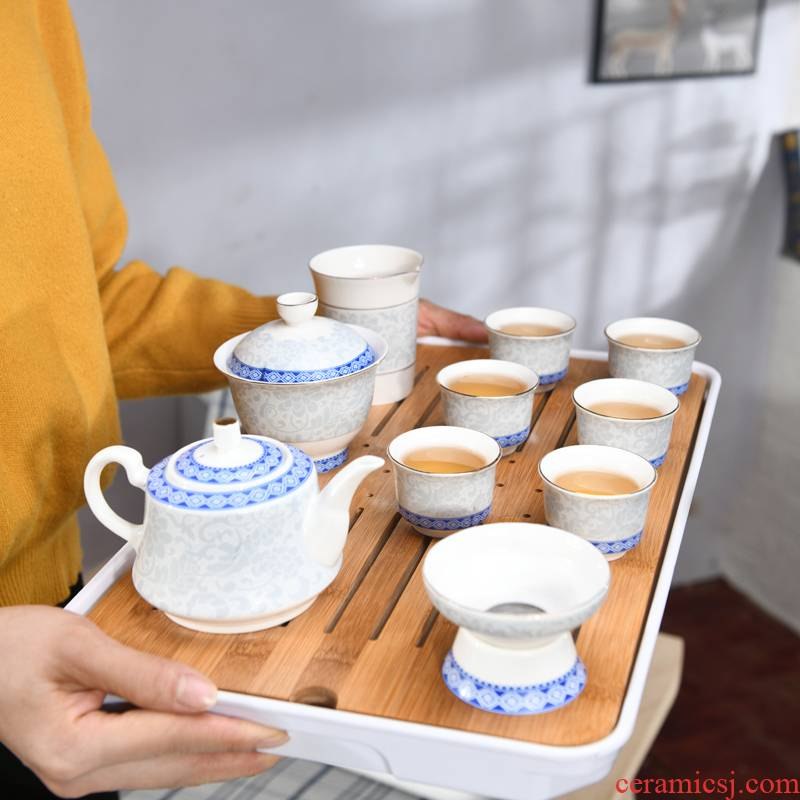 The flute kung fu tea set home a complete set of tea cups tea tray teapot small set of simple modern office to receive a visitor