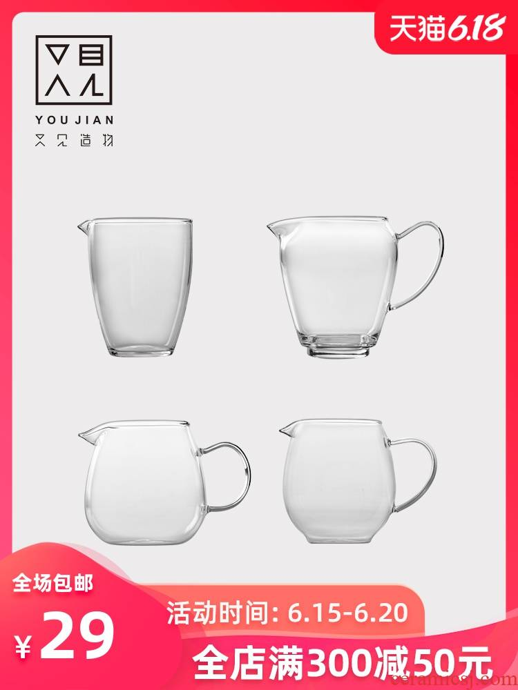Fair keller) glass kung fu tea set suit one suit and heat - resistant parts thicken pour tea cup points