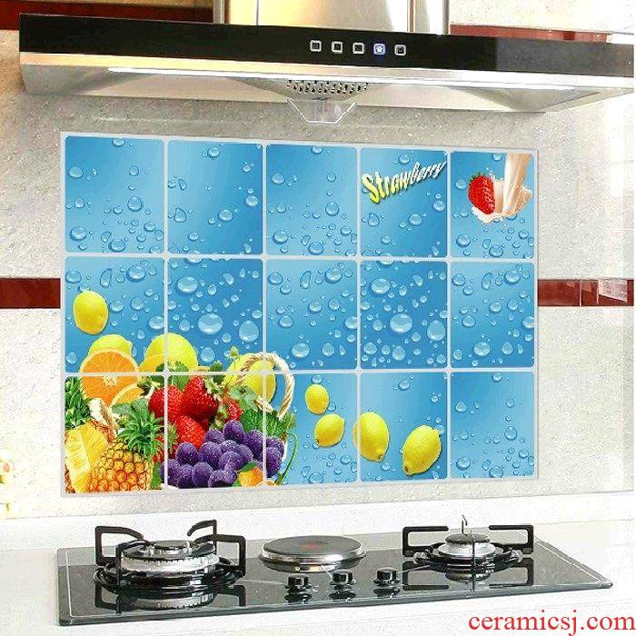 Adornment kitchen sticky oil from becomes wall stickers waterproof which dining - room metope aluminum foil tile stick fruit drops