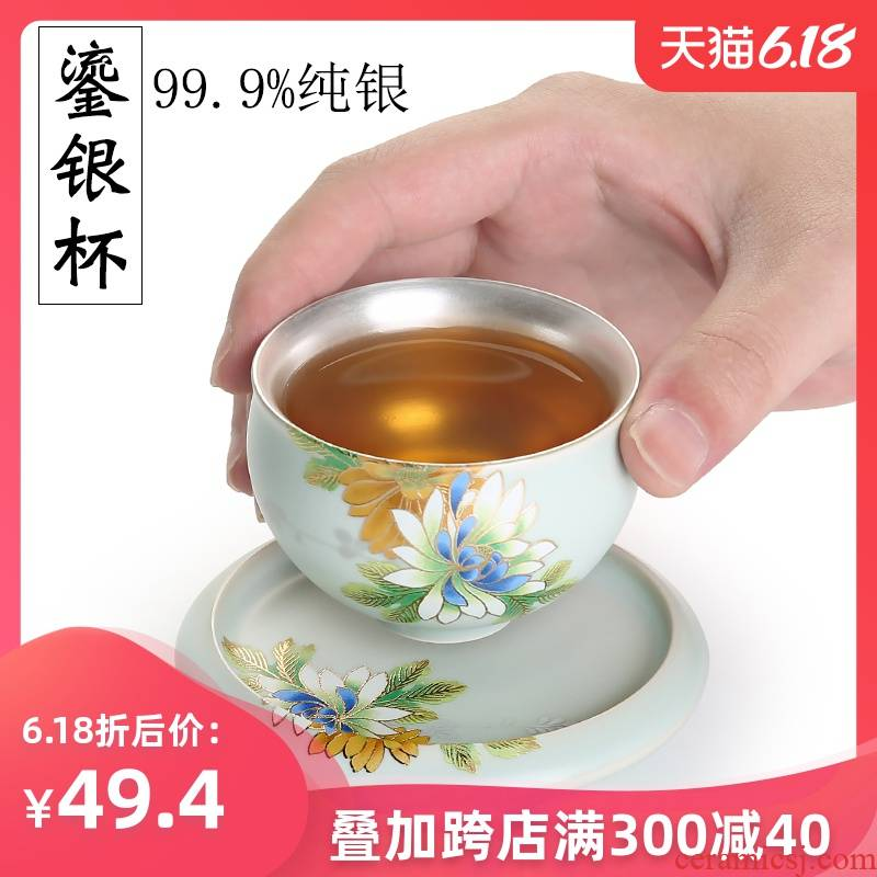 999 sterling silver cup of household ceramic cups coppering. As ru up market metrix silver cup single CPU kung fu tea tea bowl