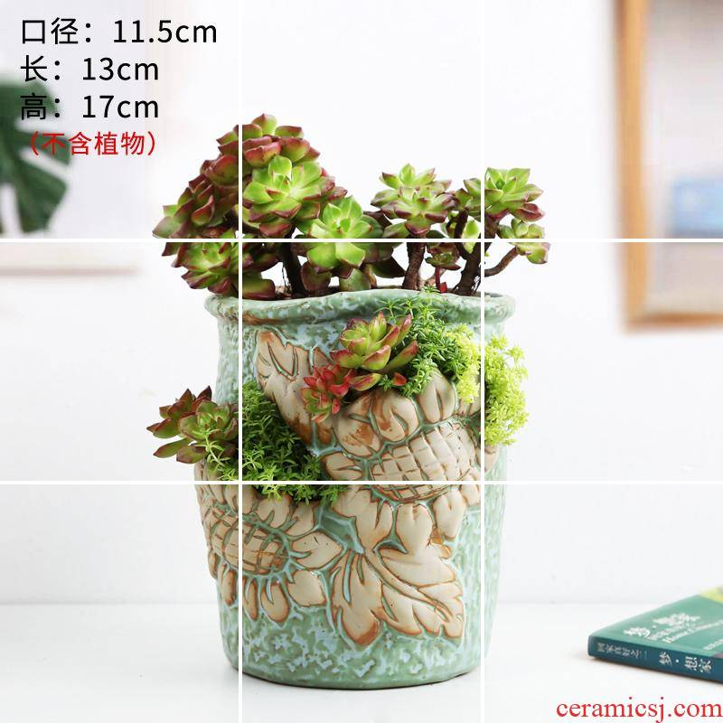 Europe type move more ceramic flower pot hole, hole much more meat platter green potted flower, orchid flower POTS