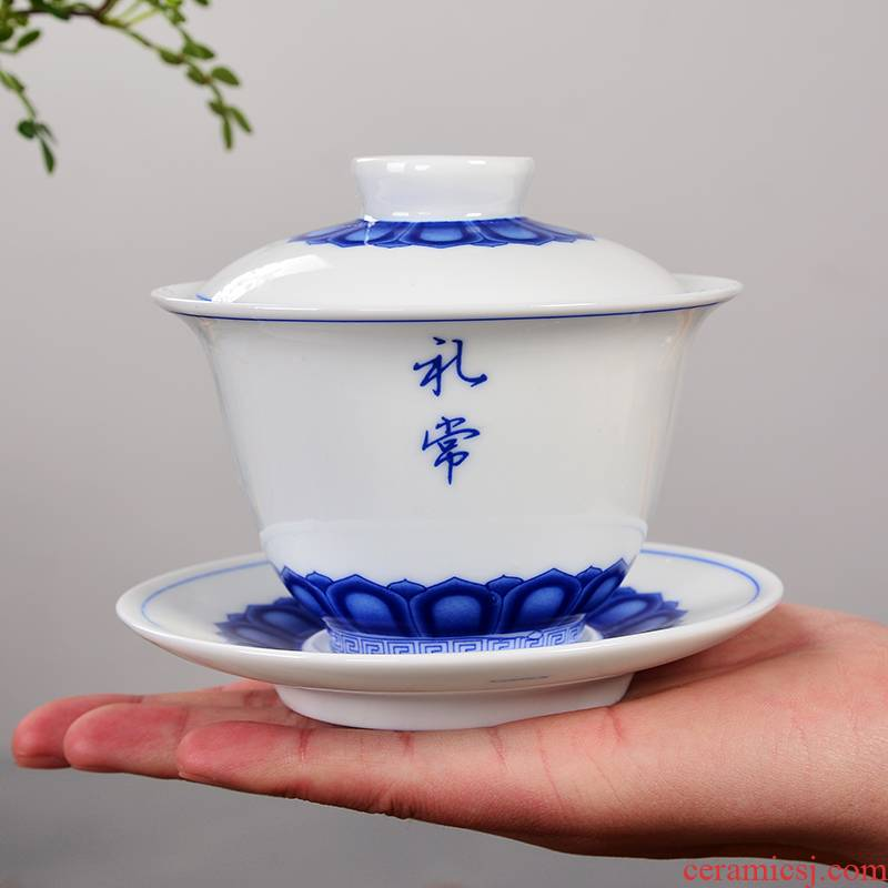 Tureen of blue and white porcelain tea set large ceramic cups kung fu tea tea for green tea teapot only three cup bowl