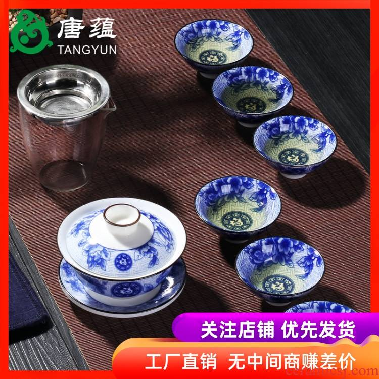 Kung fu tea set tea for tea tureen large tea cups of blue and white porcelain bowl only three bowl of jingdezhen ceramics