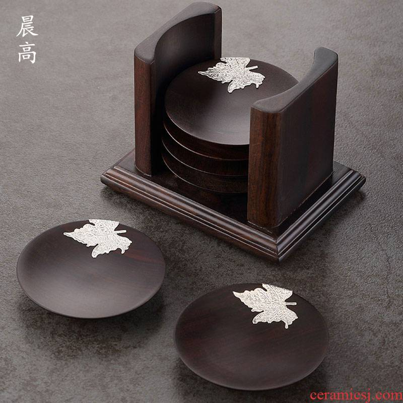 High morning cup holder, kung fu tea cup mat accessories Japanese zen tea solid wood base small cup dish
