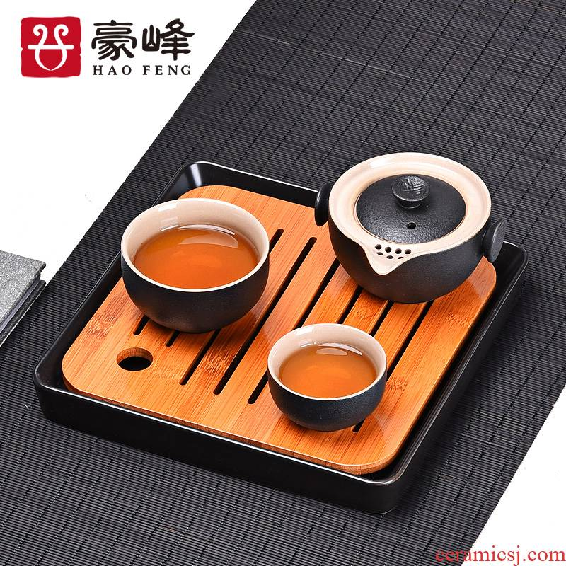 HaoFeng ceramic dry mercifully machine small mini water bamboo tea tray was kung fu tea tray with parts of a complete set of tea