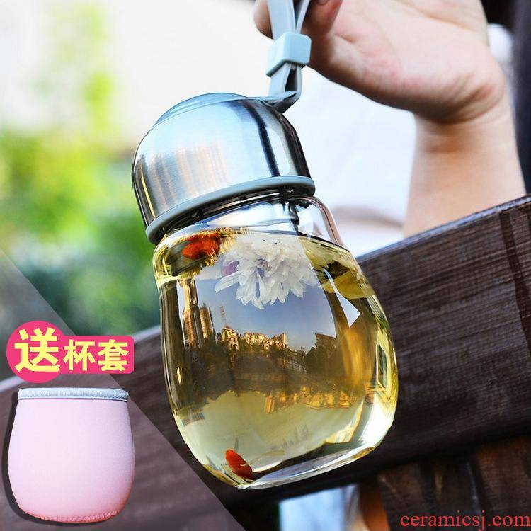 Glass female south Korean fresh portable lovely Glass cup student summer super red pot - bellied of mercifully tea filter
