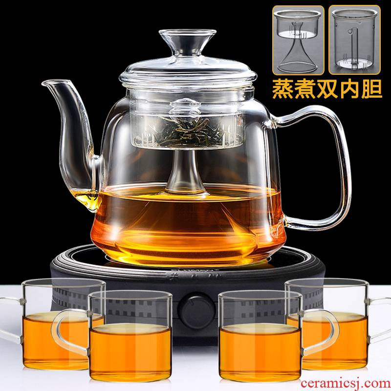 With thick glass steam pot heat resistant suit amphibious make tea kettle the boiled tea, the electric TaoLu automatic household