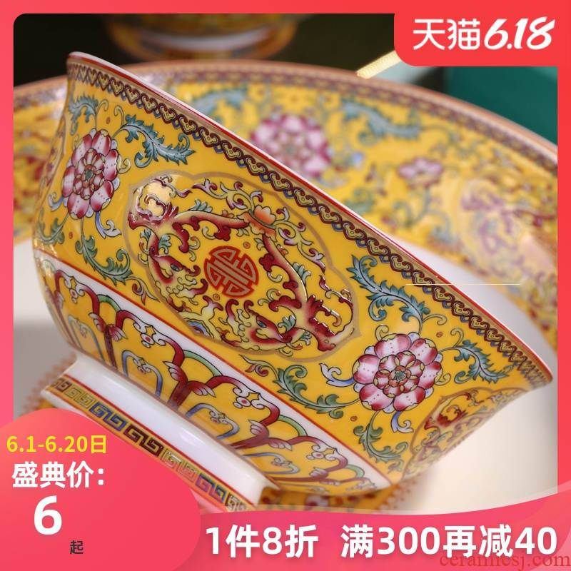 Jingdezhen ceramics tableware suit the new Chinese style dishwasher bowl chopsticks dishes suit household jobs composite plate
