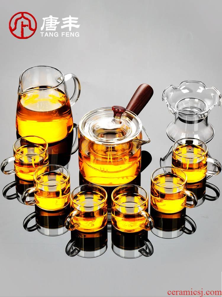 Tang Feng glass tea set suit household kung fu tea cups transparent high temperature resistant black tea teapot three type of kettle