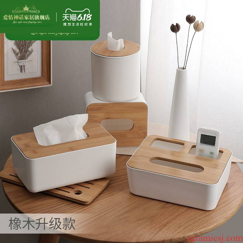 Vehicle wood smoke box ins creative girl wind round of new Chinese style household, lovely toilet wooden tea table