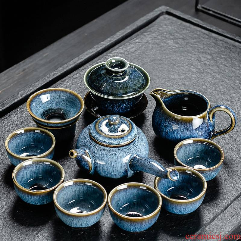 A Variable of a complete set of tea tea is tea set suit household jingdezhen up wiredrawing tureen office receive a visitor