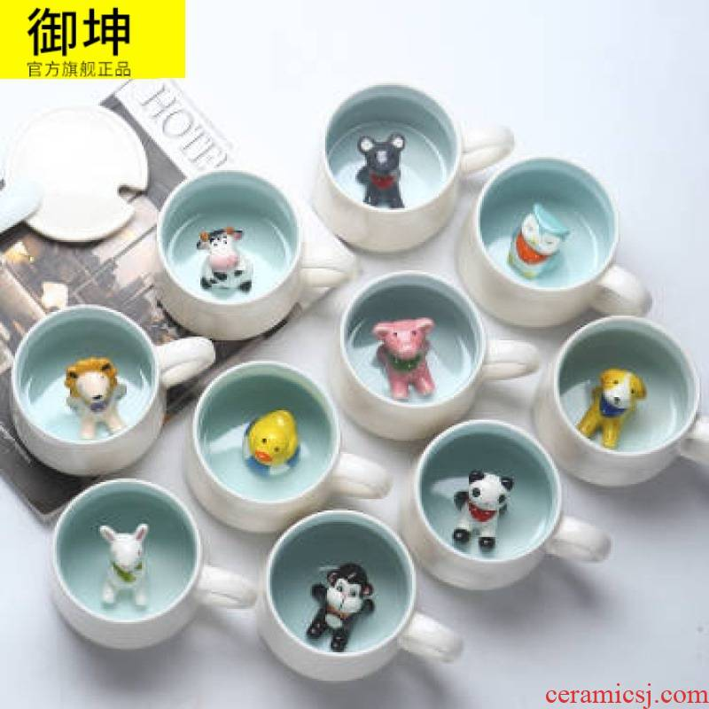 Creative ceramic keller with spoon, 3 d cartoon animals, lovely cup student couples cup of milk coffee cup