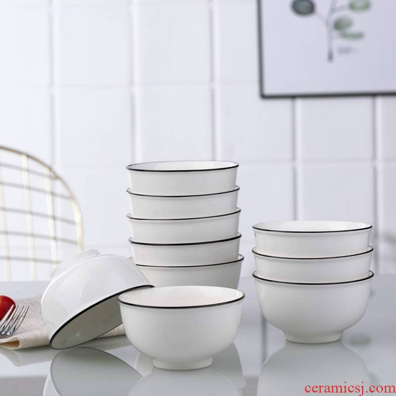 Jingdezhen Nordic to use household Japanese ceramic bowl chopsticks suit plate to eat a single small bowl of soup bowl bowl