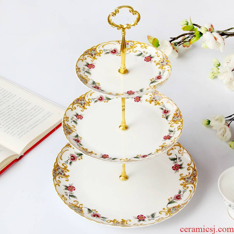 Continental snack plate of three the layers of fruit plate rack cake plate ipads China tea tea set ceramic disc ideas to get I