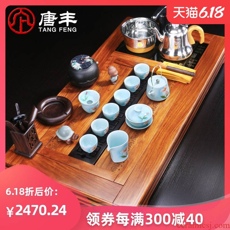 Tang Feng kung fu tea set suits for large hua limu tea tray was four unity of electric heating furnace of a complete set of European tea home z