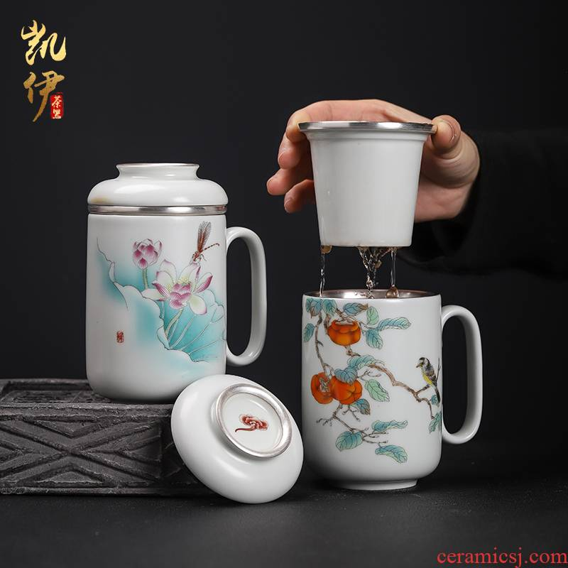 Your up coppering. As silver cup jingdezhen ceramic cups with cover large household personal version of Your porcelain tea cups