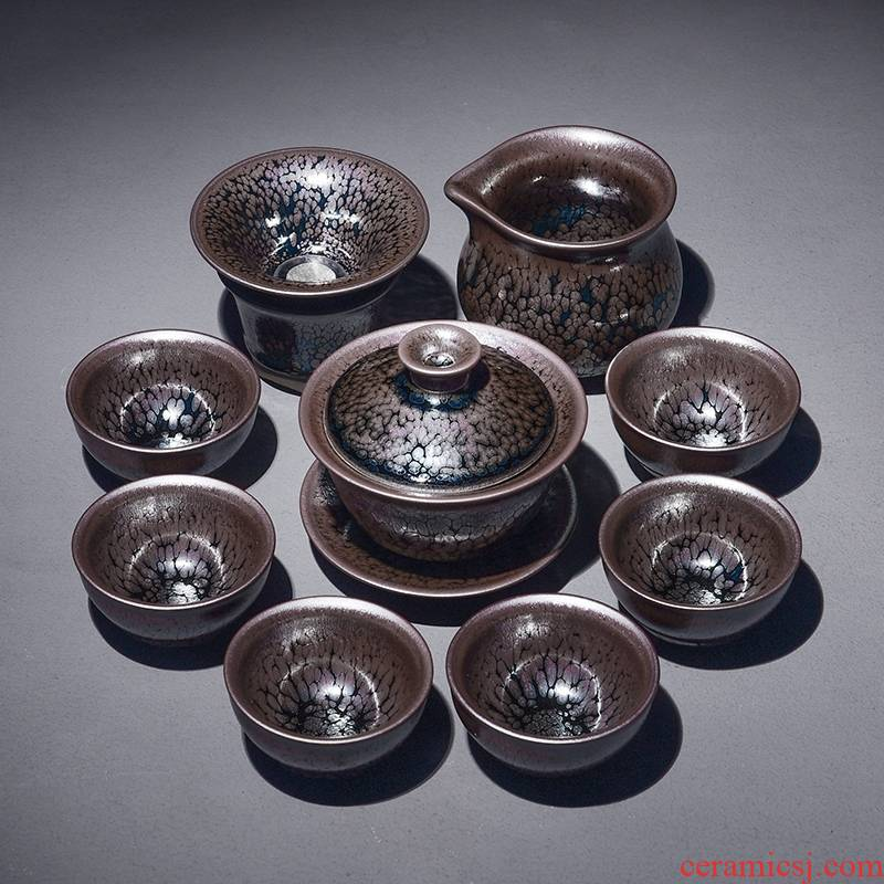 Hk xin rui droplets built light tea red glaze, household iron tire oil lamp gift set ceramic tea set combination
