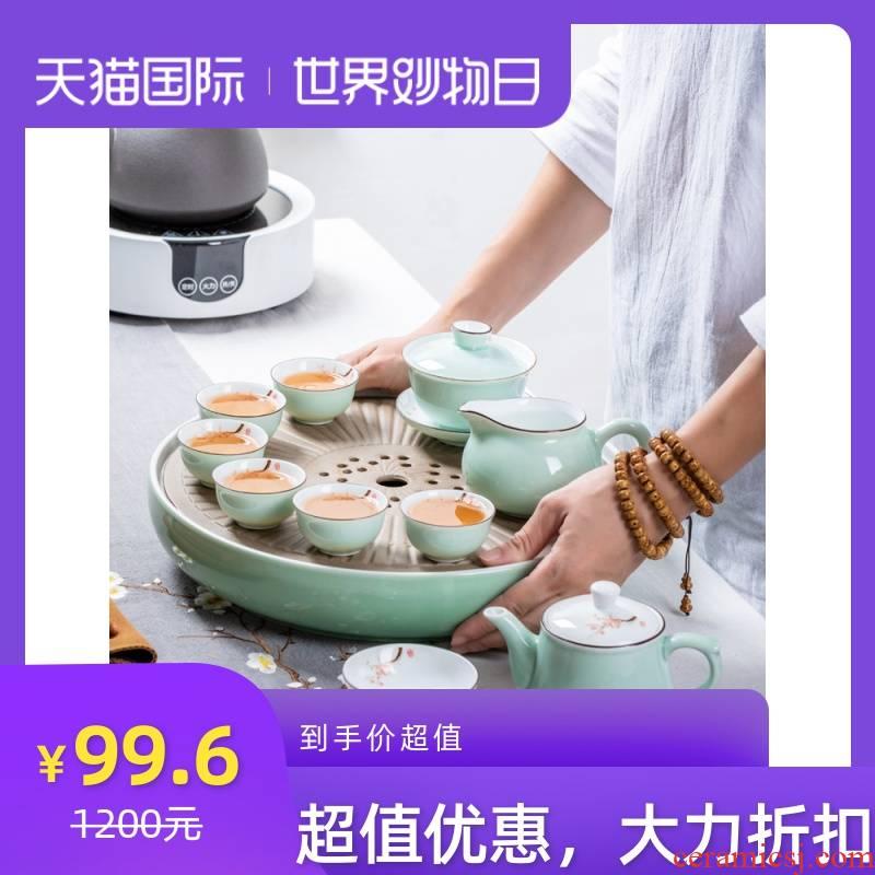 Chaoshan kungfu tea set suit small household set of jingdezhen tea tray lid bowl of a complete set of ceramic tea cups
