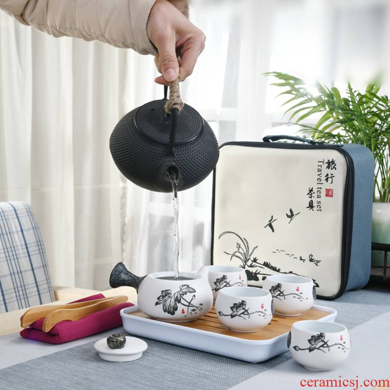 Travel the flute ceramic tea set suit portable package household contracted Japanese office teapot is suing tea tray cups