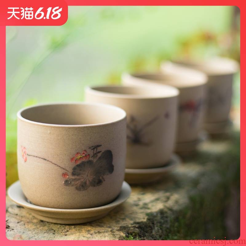 Manual biscuit firing coarse pottery breathable fleshy flowerpot contracted ceramic flowerpot zen classical joker flower implement creative combination