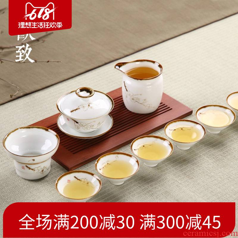 Ultimately responds to simple hand - made zen tea sets 9 woolly kung fu tureen jingdezhen porcelain of a complete set of household make tea