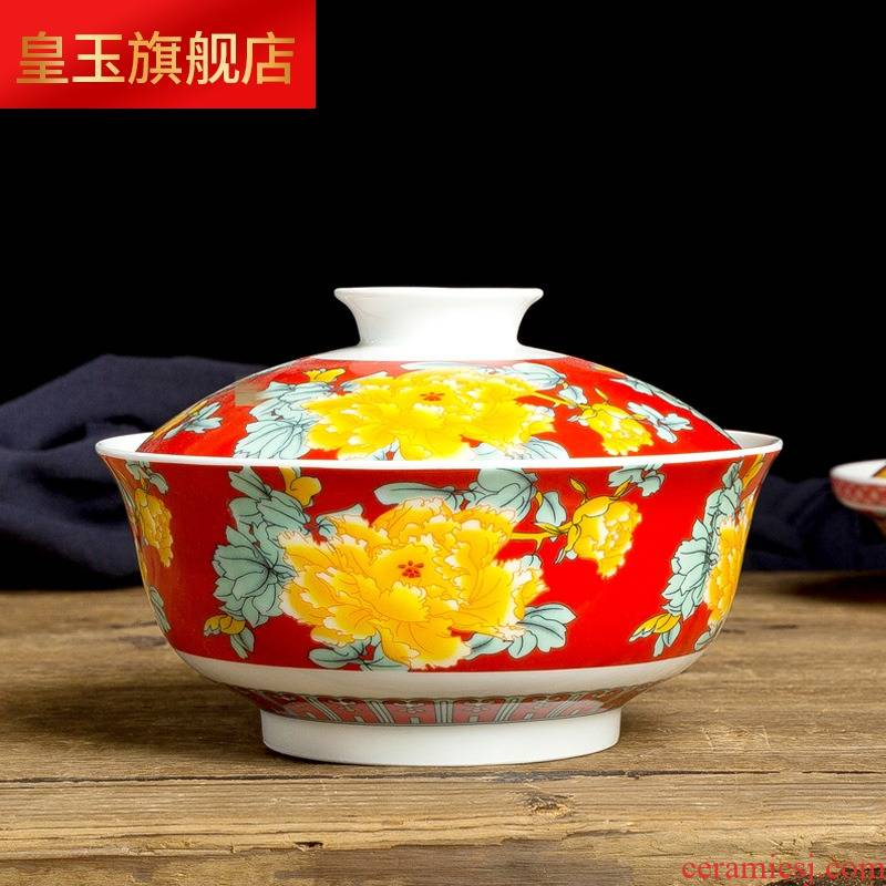 Jingdezhen ceramic blue and white and exquisite with cover plate dishes home soup bowl dishes household tableware porcelain