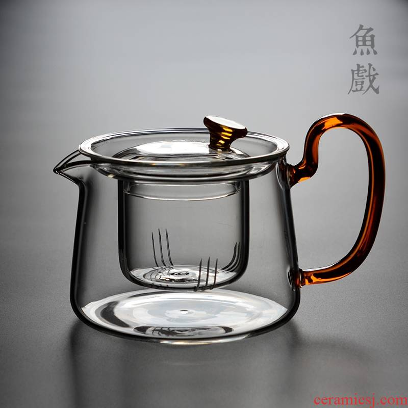 Hk xin rui household glass teapot single pot teapot thickening high temperature resistant filter teapot tea tea separation