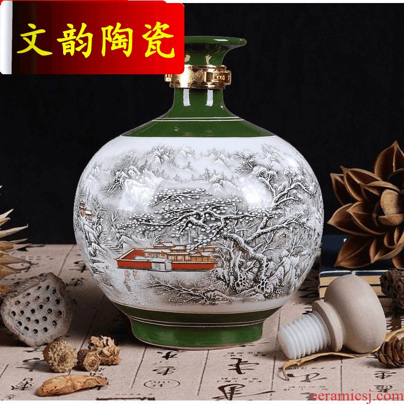 Wen rhyme of jingdezhen ceramic jars 10 kg snow seal wine it jars bottle wine pot brewing wine