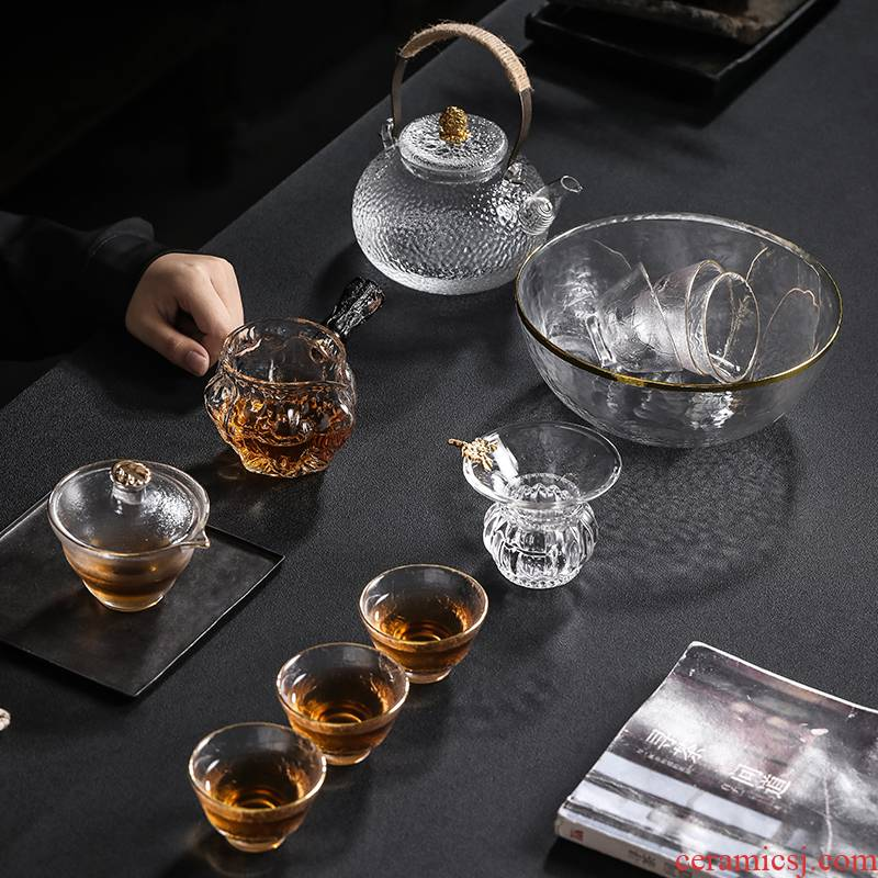 Transparent glass kung fu tea sets, small household contracted modern high temperature resistant fair teapot teacup tea Japanese