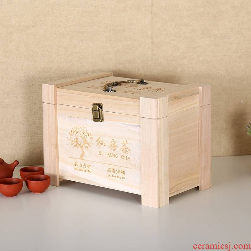 The General high - grade tea tea cake box wooden old fuding white tea General bulk puer tea packaging wooden cases