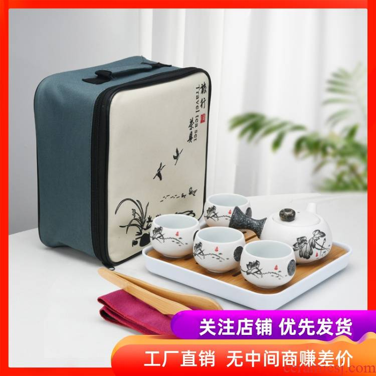 Japanese household travel tea set suit portable small sets of bags kung fu tea cup teapot contracted snowflakes purple