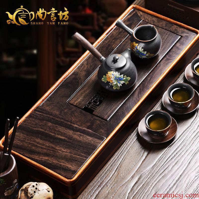 It still lane solid wood tea tray, exhaust dual - purpose water storage set tea tea set tray was hua limu ebony household