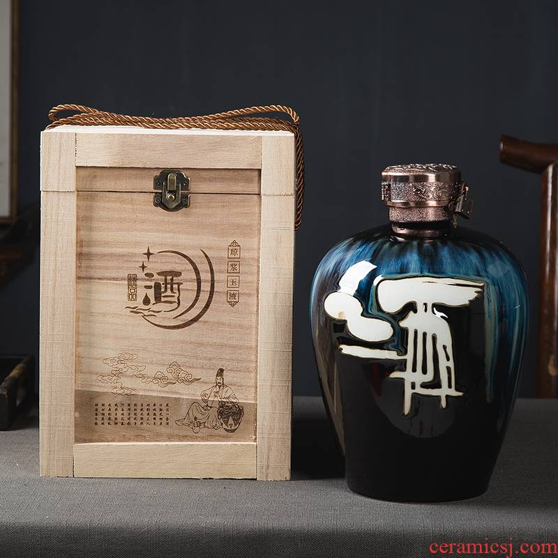 Art of jingdezhen ceramic up temperature bottle 5 jins of the packed with wooden box with the lock home wine mercifully jars