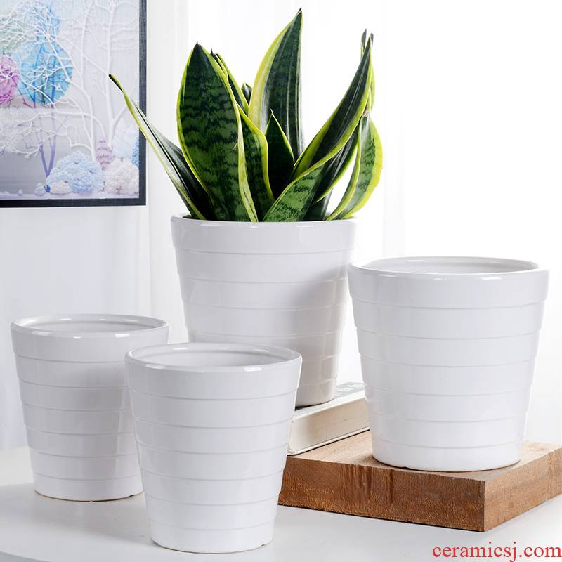 Combined with the special offer a clearance large money plant flower pot inside and outside flowerpot ceramics contracted white thread breathable root