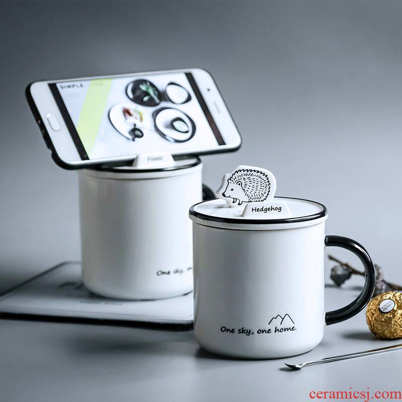 The Home office coffee cup keller spoon with lid ceramic cartoon water put to as creative cup mobile phone