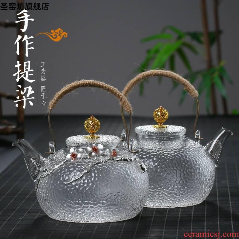Japanese hammer glass girder pot teapot high temperature resistant filter teapot household electrical TaoLu burn boiled tea