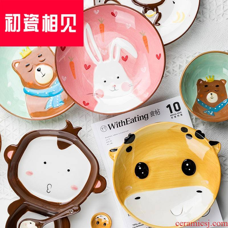 Early meet porcelain ceramic infants separated plate set points, lovely cartoon kids home non - toxic baby