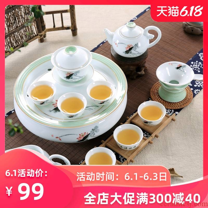 The Home office ceramic white porcelain chaozhou chaozhou kunfu tea tea tea cup lid bowl suit Chinese style