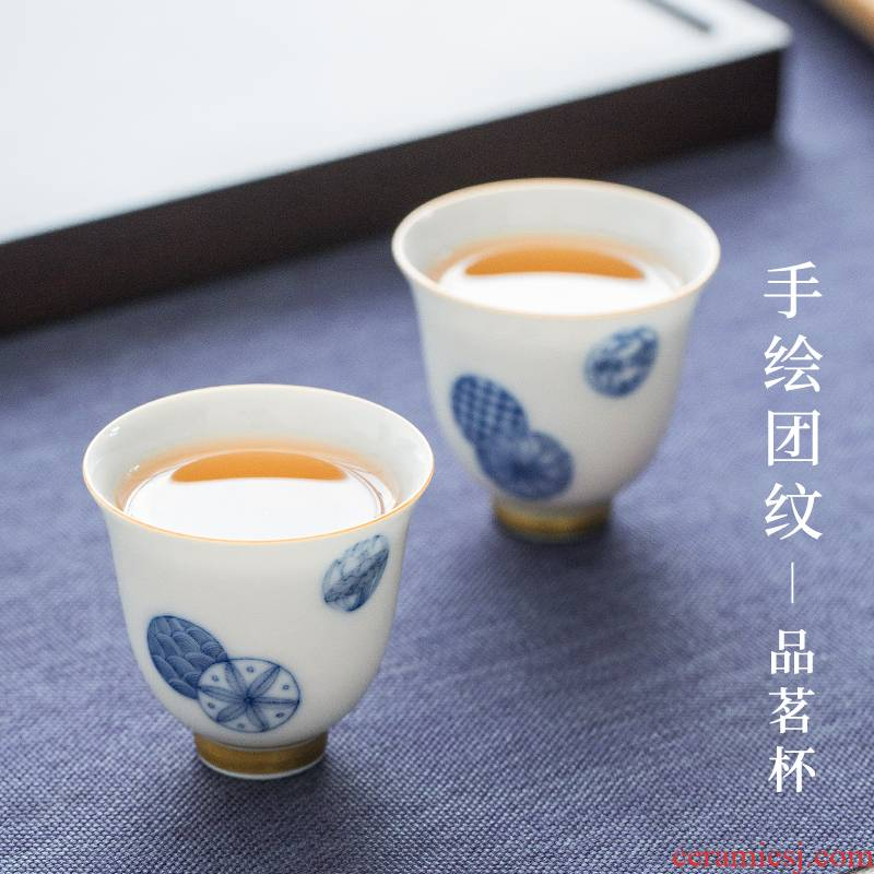 The Escape this hall hand - made porcelain ball flower masters cup cup jingdezhen ceramic sample tea cup single CPU single small tea cups