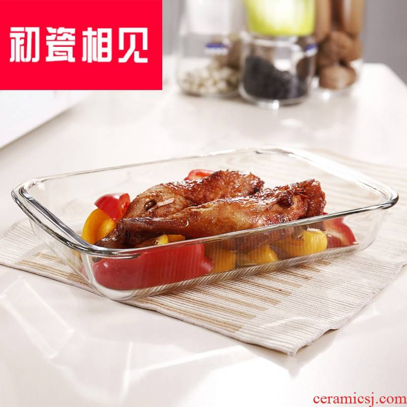 Porcelain meet each other at the beginning of a rectangle plate dish dish home large steamed fish dish plate microwave ideas for FanPan baking pan