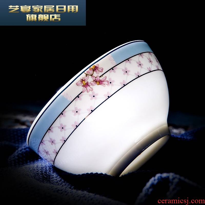 3 new PLT jingdezhen Chinese six dishes suit household to eat ipads porcelain tableware ceramic bowl chopsticks rice bowl