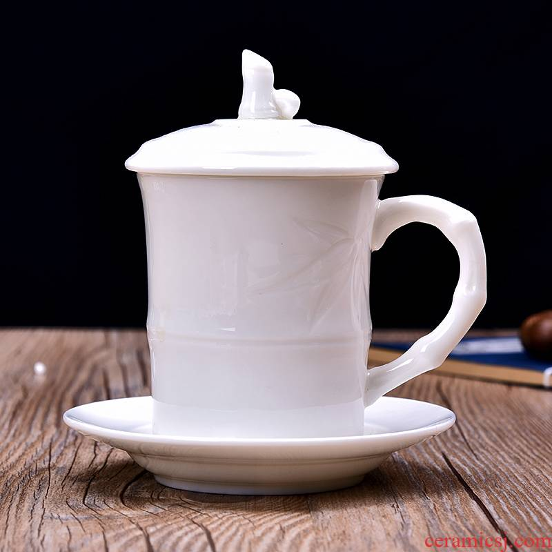 Dehua white porcelain ceramic cups kung fu Japanese contracted household utensils large single cup with cover office gift boxes