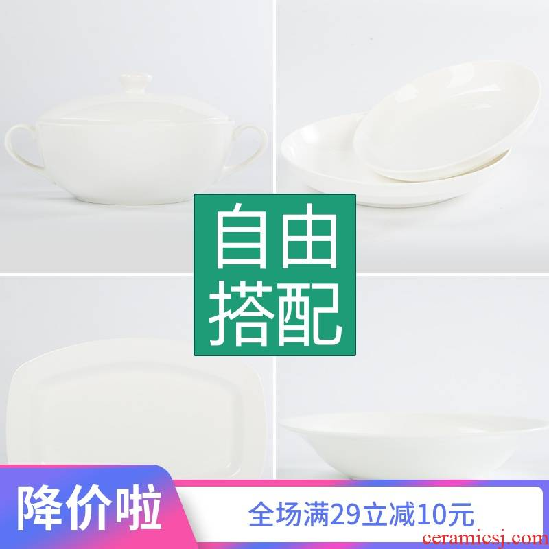 Under the glaze color pure white ipads porcelain tableware western - style food dish household rice bowls western food steak dishes dish dishes of jingdezhen