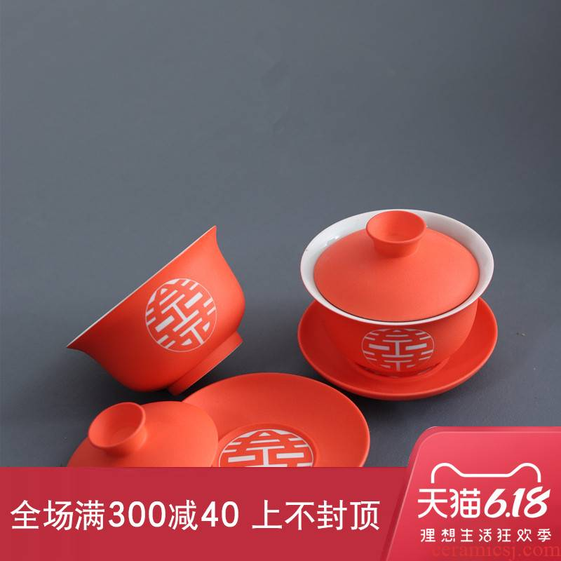 New Chinese style wedding tea tureen one hundred good double happiness ceramic wedding tableware happy character to bowl bowl three pair