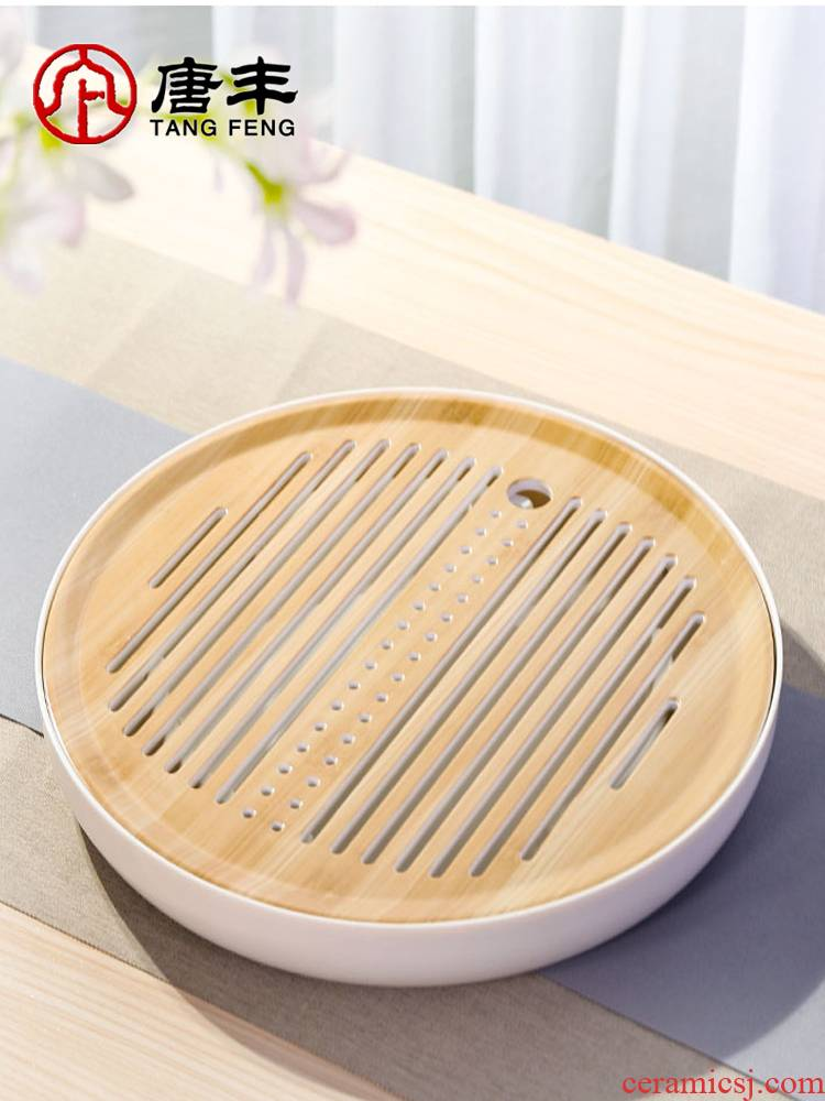 Tang Fengmi amine dry plate of kung fu tea tray was round tea table household contracted small tea saucer tray storage type
