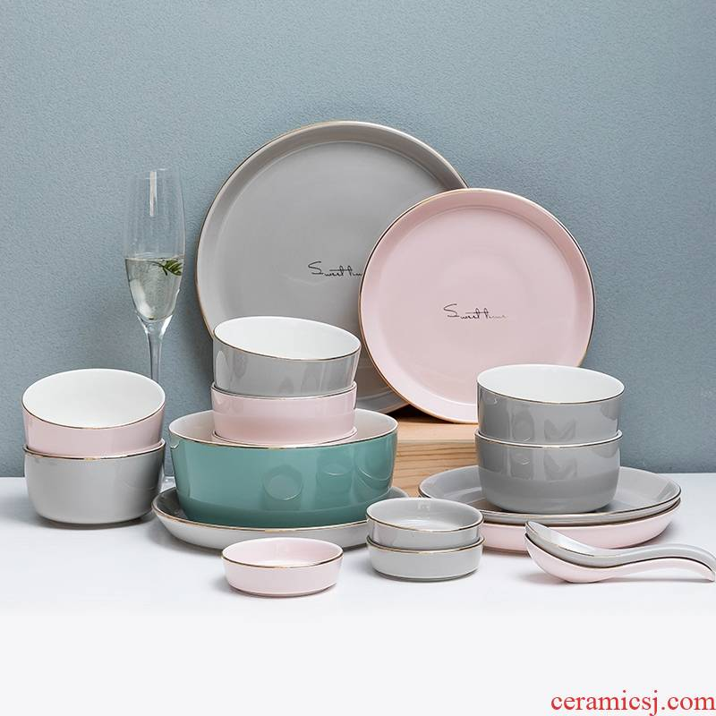 Hk xin rui Nordic up phnom penh dish suits for home dishes chopsticks combination of jingdezhen ceramic tableware