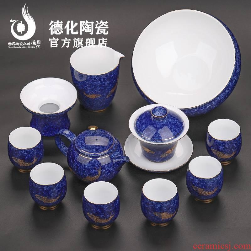 Koi household custom tea sets tea gift box brocade carp ceramic tea sets kung fu tea set ideas