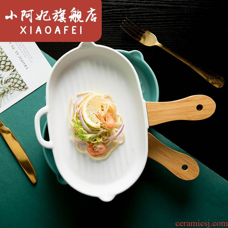 Nordic glaze ceramic plate with wooden handle, irregular oval creative dinner plate household utensils plate flat pan