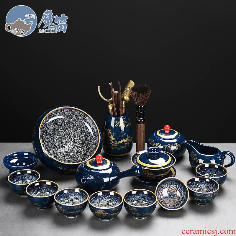 The flute blue mist kung fu tea set office ceramic household cup teapot tea wash GaiWanCha sea restoring ancient ways