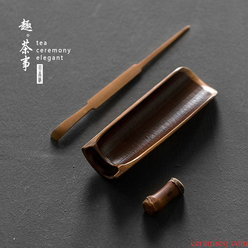 Babson d ancient tea is a three - piece checking bamboo 6 gentleman ChaZhen ChaBo tea kungfu tea accessories